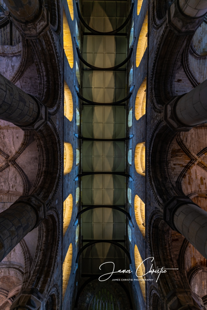Dunfermline Abbey, Capital of Scotland, Custom photography tour of Scotland, Robert the Bruce, ceiling, Nikon D850, private photography tour of Scotland