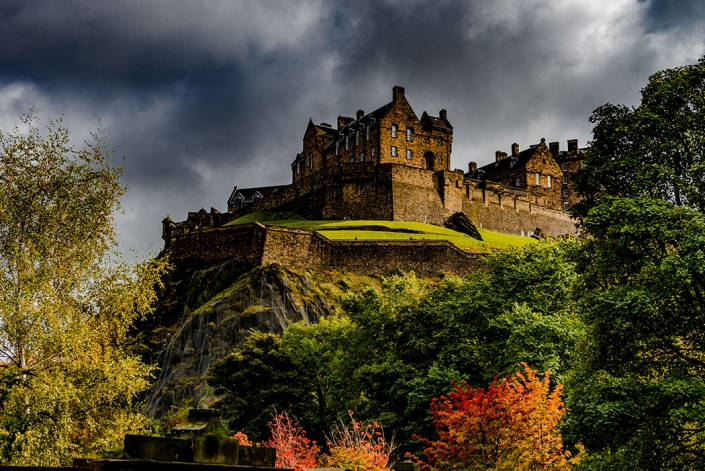 Edinburgh castle, fall, autum