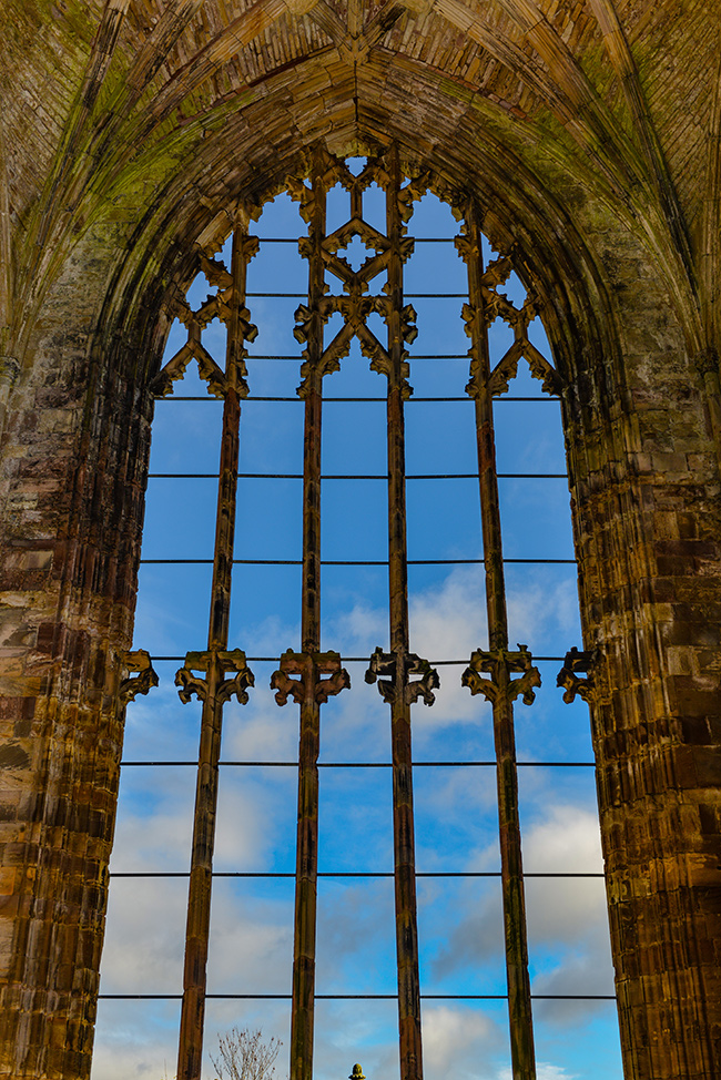 Melrose abbey, window, Scottish Borders