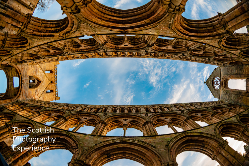 Jedburgh Abbey, Scottish Borders, Fish eye, Arches, History, Religion